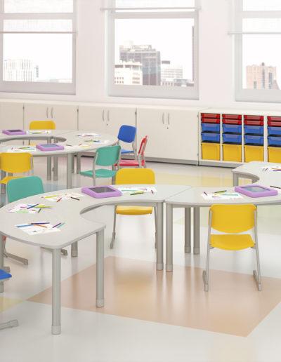 Imagems de sala de aula infantil com móveis Metadil.