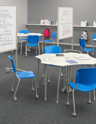 Imagem de sala de auçla com móveis Metadil.