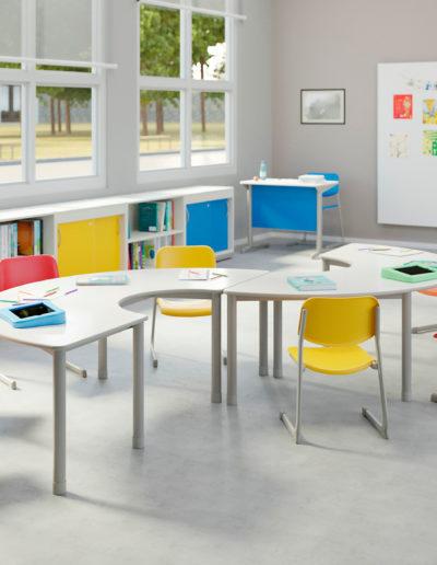 Imagem de sala de aula infantil com móveis Metadil.