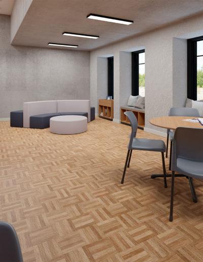 Produtos na Imagem: Estantes para biblioteca 3BLO20, mesas para biblioteca 70162 e cadeiras aria 4711.