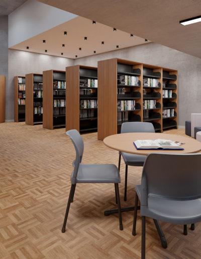 Produtos na Imagem: Estantes para biblioteca 3BLO20, mesas para biblioteca 70162, mesas para biblioteca 70114 e cadeiras Aria 4711.