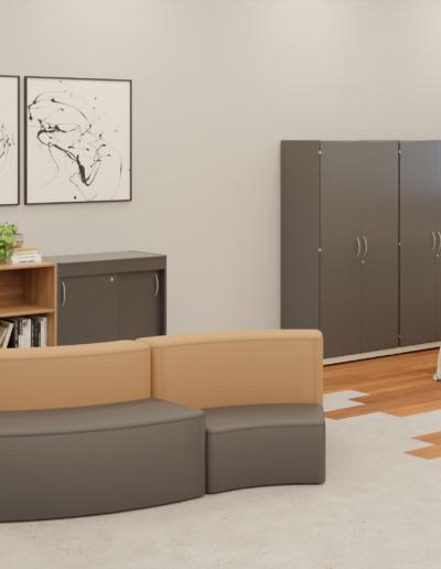 Produtos na imagem: Armários 9045PC, armários 18245PC, estante 9041, Mesa para biblioteca 70114 e cadeiras Aria 4711ESR.